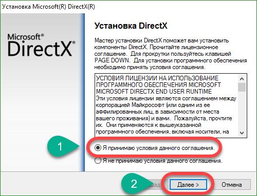 Согласие с условиями DirectX